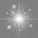 White glowing light explosion with transparent background. Vector illustration. Bright star. Shining flare royalty free illustration