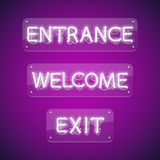 White Glowing Neon Entrance Signs stock illustration