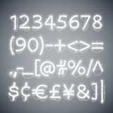 White Glowing Neon Numbers Stock Photos