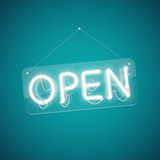 White Glowing Neon Open Sign vector illustration