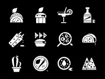 White glyph style mexican cuisine icons set Stock Image