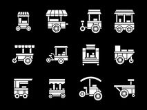 White glyph style trade trolleys icons set Royalty Free Stock Photography