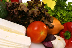 White goat feta cheese and vegetables Royalty Free Stock Photo