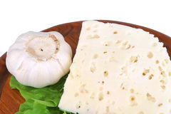 White goat hard cheese close up Royalty Free Stock Images