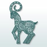 White goat of patterned paper - a symbol of new 2015. Stylization. White goat of patterned paper on green silhouette - a symbol of new 2015. Stylization. Vector Royalty Free Stock Photo
