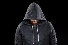 White Goatee Man Wearing Gray Hood Royalty Free Stock Photo