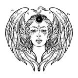 White goddess BW sketch. White Goddess. Universal deiety in most of the pagan religions worldwide. Symbol of the female element in nature. Hand drawn artwork royalty free illustration