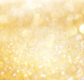 White and gold abstract bokeh lights Royalty Free Stock Image