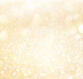 White and gold abstract bokeh lights. Royalty Free Stock Photos