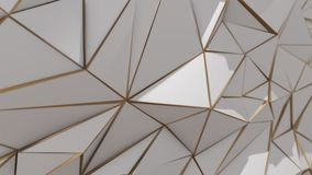 White and gold abstract low poly triangle background. 4k stock video