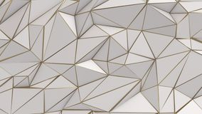 White and gold abstract low poly triangle background. 4k stock footage