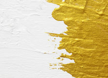 White and gold acrylic textured painting stock photography