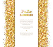 White and Gold Banner, Greeting Card Design Stock Images
