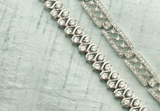 White gold bracelets with diamonds Stock Photography