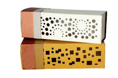 White and gold cardboard box isolated Stock Photo