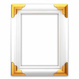 White and gold classic picture frame. Isolated on white background Royalty Free Stock Photos