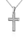 White gold cross pendant with diamonds isolated on white Royalty Free Stock Image