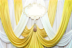 White and gold curtain backdrop background Stock Image