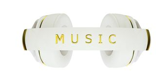 White with gold decor exclusive headphones for music. Royalty Free Stock Photo