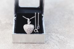 White gold diamond locket pendant with necklace Stock Images
