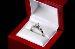 White gold diamond ring Stock Images