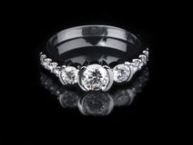 White gold diamond ring Royalty Free Stock Images