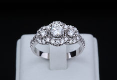 White gold diamond ring with stand Stock Photography