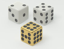 White and Gold Dice Royalty Free Stock Photo