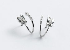 White Gold Earring stock photography