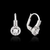 White gold earrings with diamond Royalty Free Stock Images