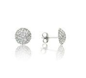 White gold earrings with white diamonds. 3d illustration Stock Photos
