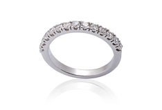 White Gold Engagement Rings with Diamonds. On white background stock images