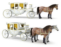 A white, gold-finished carriage drawn by a pair of horses Royalty Free Stock Photo