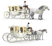 A white, gold-finished carriage drawn by a pair of horses Royalty Free Stock Image