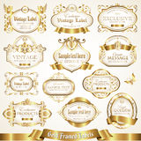 White gold-framed labels - vector set Royalty Free Stock Images