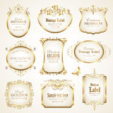 White gold-framed labels - vector set. Collection of various labels with decorative gold elements Stock Photo