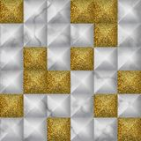 White and gold glitter marble 3d geometric seamless pattern. White marble with volume geometric effect and gold glitter repeat tile. Luxury seamless pattern with vector illustration