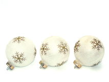 White-and-Gold Holiday Ornaments Stock Photos