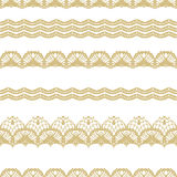 White and gold lace seamless stripes pattern. Stock Photos