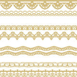 White and gold lace seamless stripes pattern. Stock Image