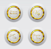 White gold metal buttons 3d Royalty Free Stock Photo