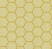 White on gold multi hexagonal line pattern seamless repeat background. Two colour multi hexagonal line pattern seamless repeat background. Could be used for Stock Image