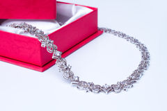 White gold necklace Royalty Free Stock Photo
