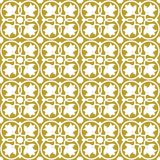 White on gold ornate flower and circle tile art deco seamless repeat pattern background. Two colour ornate flower and circle tile art deco seamless repeat Royalty Free Stock Photo