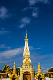 White with gold pagoda. Pratat Pranom Pagoda with blue sky in north east of Thailand Royalty Free Stock Images
