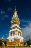 White with gold pagoda. Pratat Pranom Pagoda with blue sky in north east of Thailand Royalty Free Stock Photo