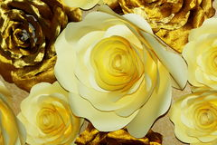 White and gold Paper flowers Stock Images