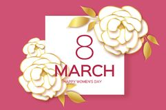 White Gold Peony Floral Greeting card in paper cut style. 8. March text. Happy Women`s Mother`s Day. Origami chrysanthemum flower holiday on pink. Square frame royalty free illustration