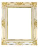 White gold picture frame. In white background for photo or texts Royalty Free Stock Photography