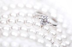 White Gold Ring with Diamonds. Close Up of a White Gold Ring with Diamonds.Diamond Ring wedding gift stock images